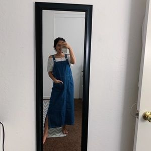 Blue maxi denim overalls dress